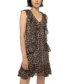 Ruffled Leopard-Print Dress