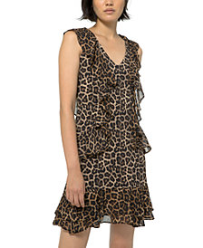 Michael Michael Kors Ruffled Leopard-Print Dress