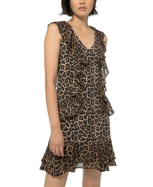 Michael Kors Ruffled Leopard-Print Dress