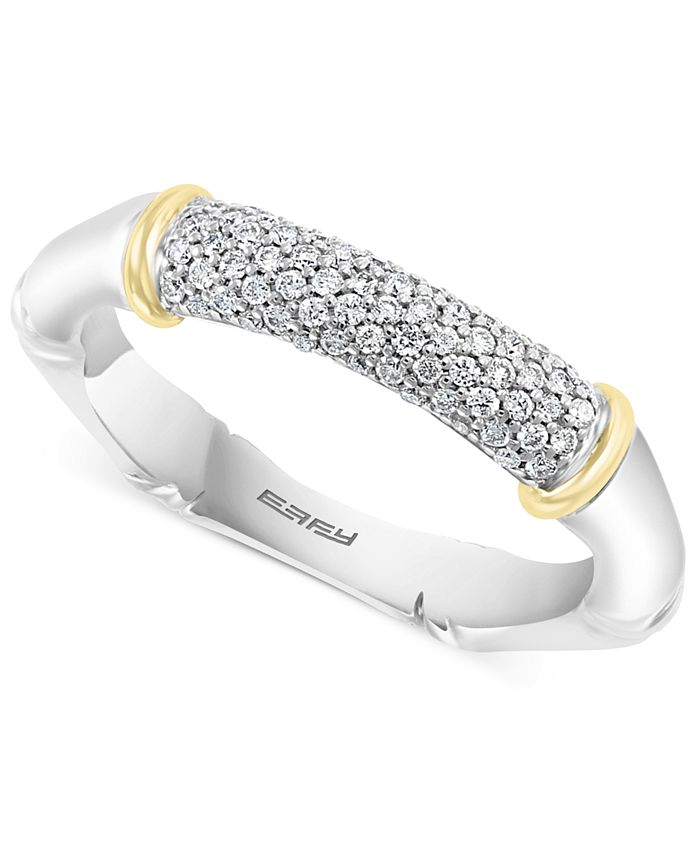 EFFY Collection - Diamond Pavé Ring (1/4 ct. t.w.) in Sterling Silver & 18k Gold-Plate