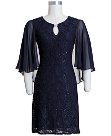 Embellished Capelet Sheath Dress