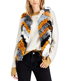 Juniors' Chevron Faux-Fur Vest