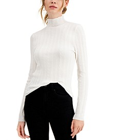 Juniors' Ribbed Cable-Knit Sweater