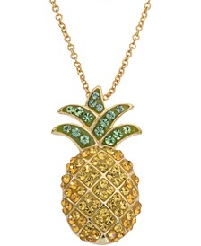 """Swarovski Crystal Pineapple 18"""" Pendant Necklace in 14k Gold-Plated Sterling Silver, Created for Macy's"""