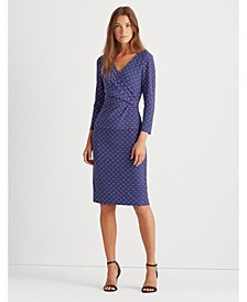 Tile-Print Surplice Jersey Dress
