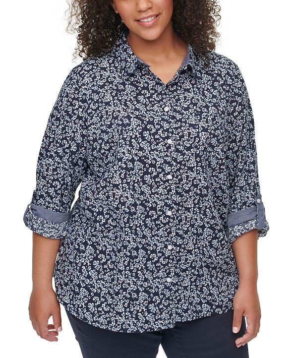 Tommy Hilfiger Plus Size Cotton Button-Down Shirt