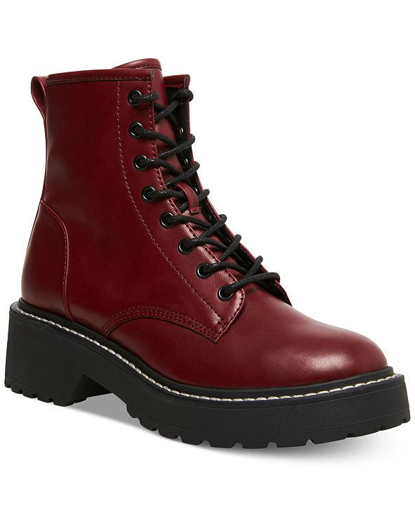 Madden Girl Carra Lace-Up Lug Sole Combat Boots