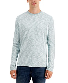Men's Long-Sleeve Reverse-Print Crew Neck T-Shirt