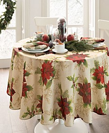 Festive Poinsettia Holiday Round Tablecloth