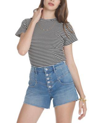Button-Fly Denim Shorts