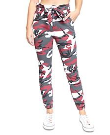 Juniors' Camo-Print Paperbag-Waist Jogger Jeans