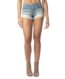Crave Fame Juniors' Crochet-Trim Denim Shorts