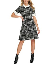 Contrast-Trim Textured Dress