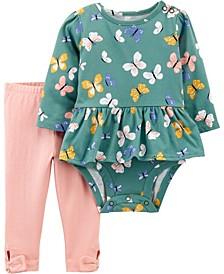 Baby Girl  2-Piece Butterfly Peplum Bodysuit Pant Set