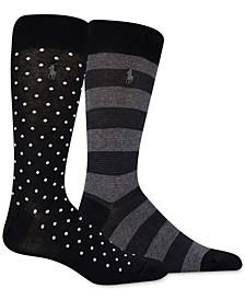 Men's 2-Pk. Dot/Rugby Stripe Slack Socks