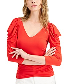 Patricia Ruched Puff-Sleeve Top