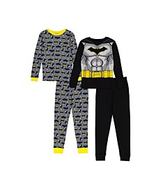 Batman Little and Big Boys Batman 4-Piece Pajama Set