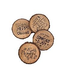 Holiday Bark Edged Coasters - 4 assorted