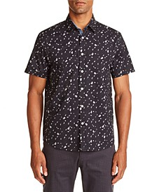 Tallia Men's Slim-Fit Black Mini Paisley Short Sleeve Shirt and a Free Face Mask With Purchase