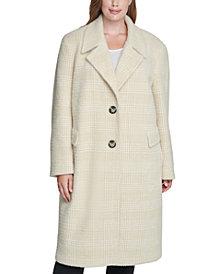 Calvin Klein Plus Size Plaid Walker Coat