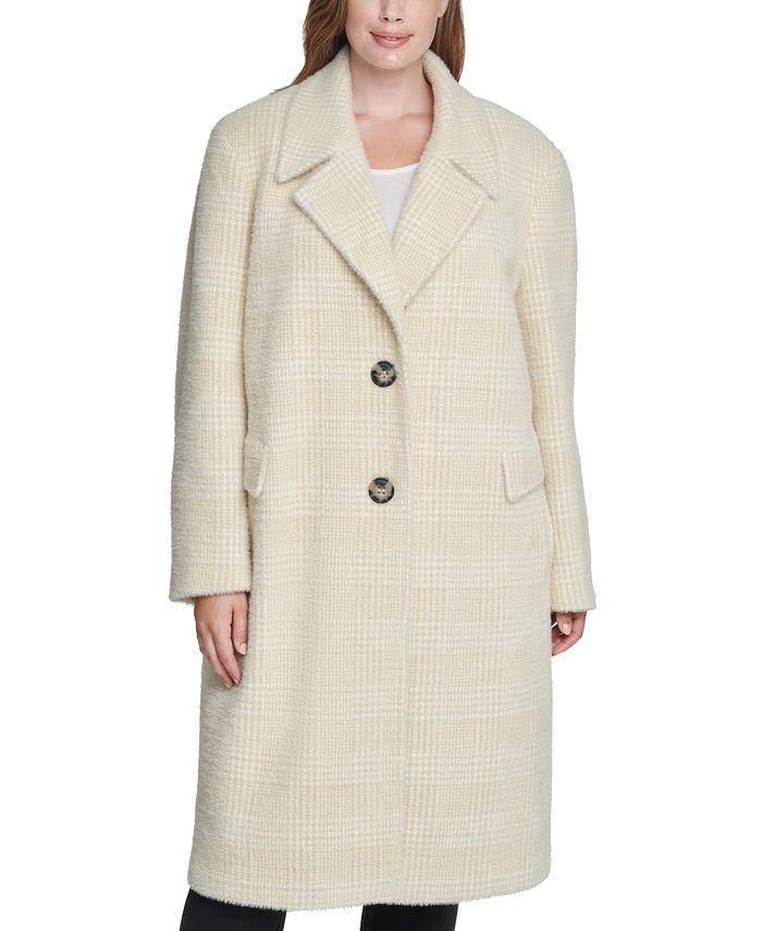 Calvin Klein - Plus Size Plaid Reefer Coat