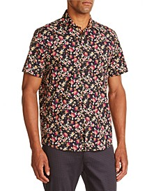 Tallia Men's Slim-Fit Black/Brown Floral Short Sleeve Shirt and a Free Face Mask With Purchase