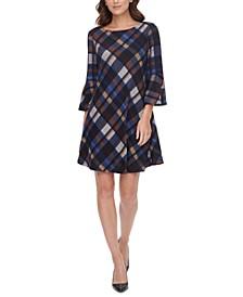Petite Plaid Bell-Sleeve Dress