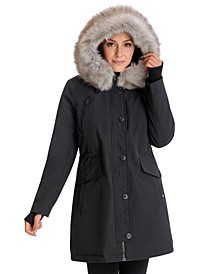Faux-Fur-Trim Hooded Water-Resistant Anorak Parka