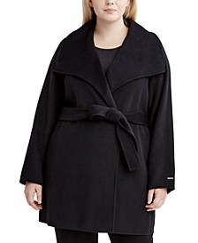 Plus Size Ella Double Face Wrap Coat, Created for Macy's