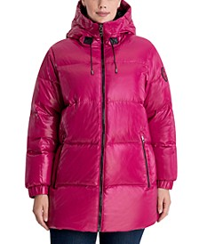 Plus Size Oversized High-Shine Hooded Down Puffer Coat