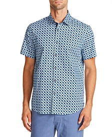 Tallia Men's Slim-Fit Black/Blue Geo Short Sleeve Shirt and a Free Face Mask With Purchase