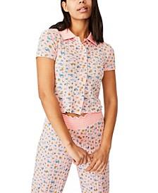 Knit Pointelle Lounge Polo Shirt