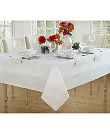 "New Wave Metallic Border Linen Tablecloth, 90"" Round"