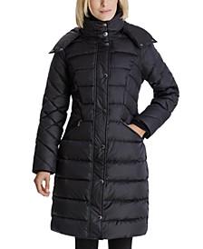 Faux-Fur Collar Hooded Puffer Coat