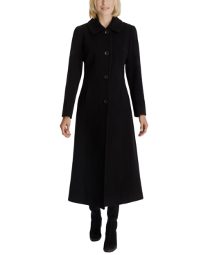 1920s Coats, Flapper Coats, 20s Jackets Anne Klein Single-Breasted Maxi Coat $189.00 AT vintagedancer.com