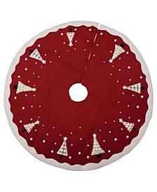 Wool Felt Tree Skirt with Appliqued Trees, Snow Trim and Button Closures