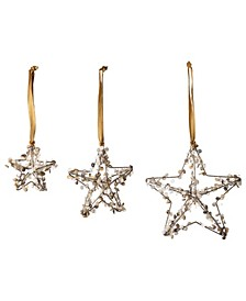 Metal Star Ornaments with Buttons Set of 3 Sizes