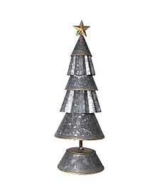 """17.25"""" Multi-Tier Galvanized Metal Cone Tree with Gold-Tone Star on Base"""