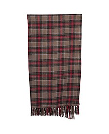 "60"" Brushed Cotton Throw with Plaid Pattern Fringe"