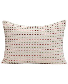 """Rectangle Cotton Woven Pillow with Kantha Stitch, 20"""" x 14"""""""
