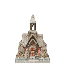 "15.25"" Paper Church with Bottle Brush Trees LED Light Batteries Included"