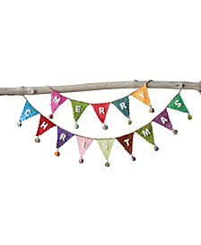 """72"""" Banner Shaped Wool Felt Garland with """"Merry Christmas"""" Pom Poms"""