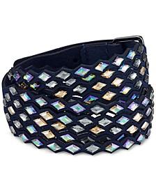 Silver-Tone Crystal Fabric Wrap Bracelet