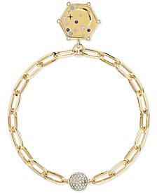 Gold-Tone Crystal Moon/IMAGINATIVE Air Medallion Magnetic Link Bracelet