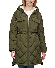 Quilted Fleece-Lined Hooded Parka
