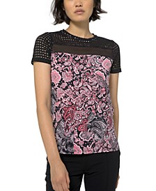 Paisley Crepe Combo Top, Regular & Petite Sizes