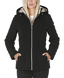 Fleece-Lined Hooded Quilted Coat
