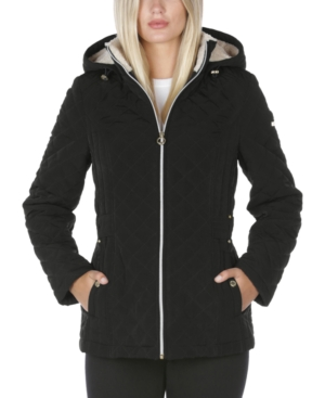 Laundry By Shelli Segal LAUNDRY BY SHELLI SEGAL FLEECE-LINED HOODED QUILTED COAT