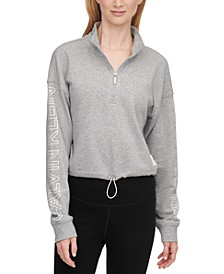 Drop-Shoulder Half-Zip Top