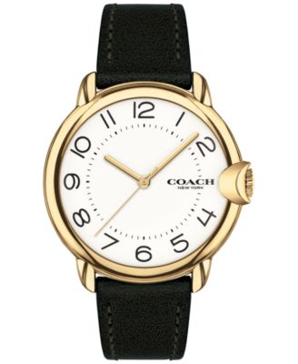 코치 여성 손목 시계 COACH Womens Arden Black Leather Strap Watch 36mm